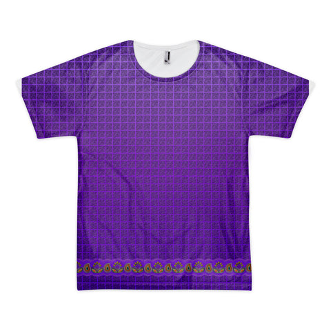 Printful Flower Border in Purple t-shirt (unisex) Front View