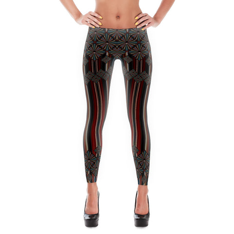 Metallic Diamonds and Stripes 1 All-over Leggings - Stradling Designs