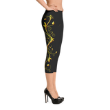 Yellow Roses Full-Up on Black Capri Leggings