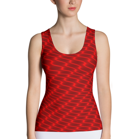 Neon Wavy Lines Red Tank Top - Stradling Designs