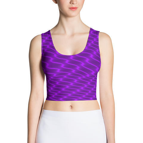 Neon Wavy Lines Purple Crop Top - Stradling Designs