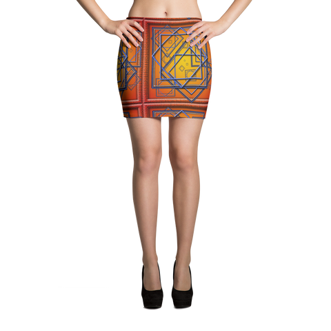Orange Tile 3 Mini Skirt