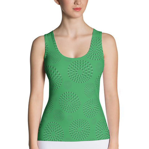 Square-Circle-Spiral Tank Top Green