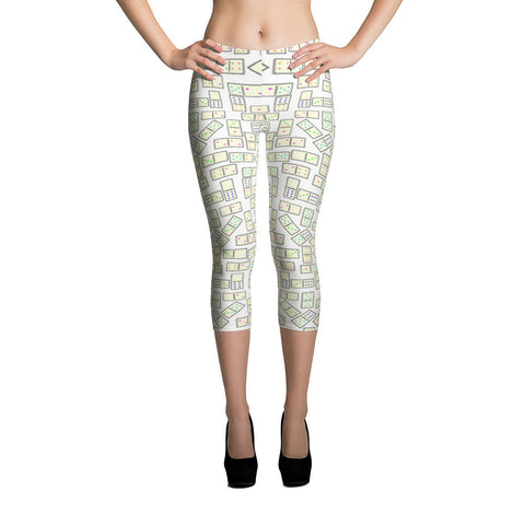 Domino Tiles Capri Leggings White - Stradling Designs