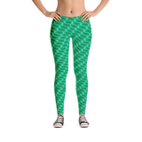 Neon Wavy Lines Teal Leggings - Stradling Designs
