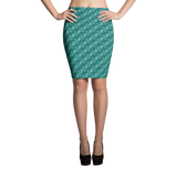 Ribbons Pencil Skirt Turquoise - Stradling Designs