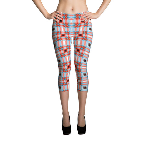 Red Blue Black White 4 All-Over Capri Leggings - Stradling Designs
