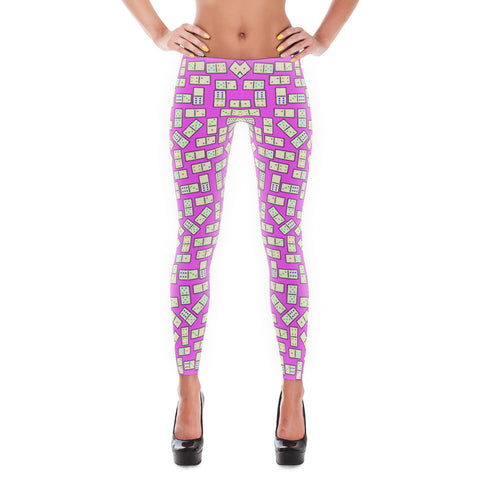 Domino Tiles Leggings Pink - Stradling Designs