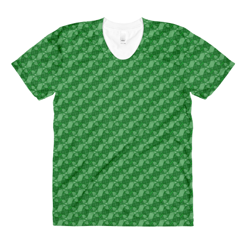 Ribbons Women's Crew Neck T-shirt Green - Stradling Designs