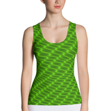 Neon Wavy Lines Yellow Tank Top - Stradling Designs