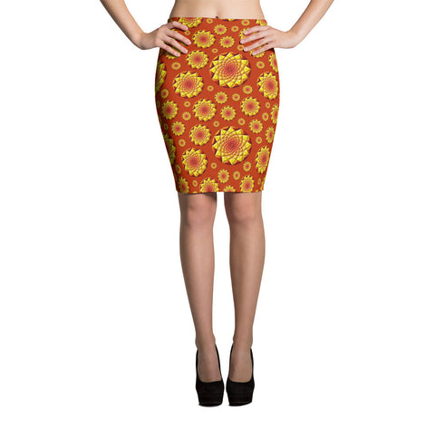 Geometric Sun 01 All-over Pencil Skirt - Stradling Designs