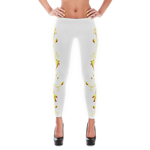 Printful Yellow Roses Full-Up on White All-Over Leggings Front View