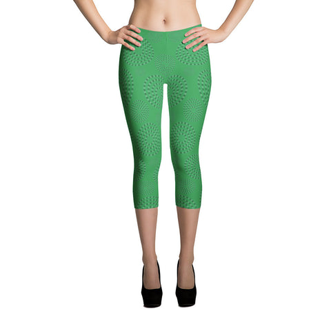 Square-Circle-Spiral Capri Leggings Green - Stradling Designs