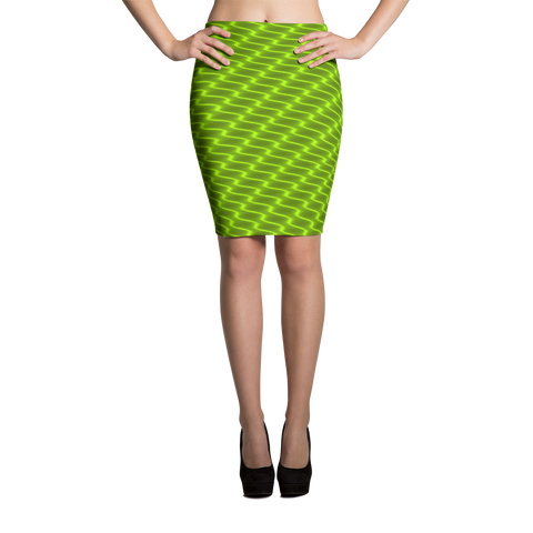 Neon Wavy Lines Yellow Pencil Skirt - Stradling Designs