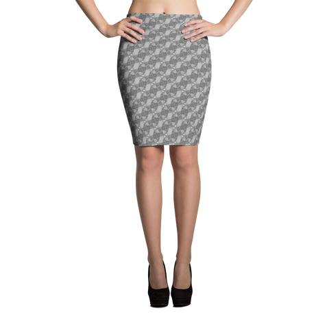 Ribbons Pencil Skirt Silver - Stradling Designs