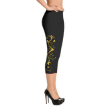 Yellow Roses Half-Up on Black Capri Leggings - Stradling Designs