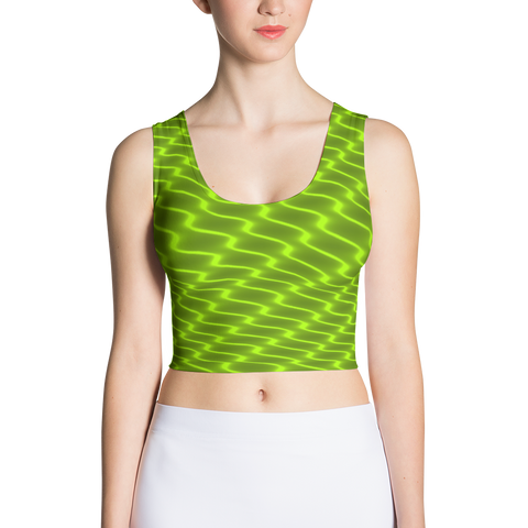 Neon Wavy Lines Yellow Crop Top - Stradling Designs