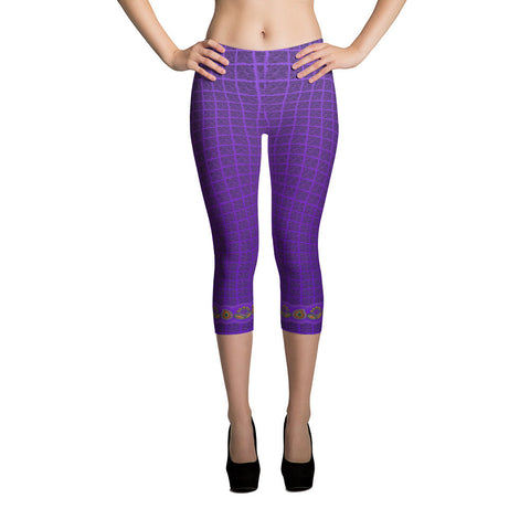 Printful Flower Border in Purple Capri Leggings Front View