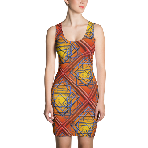 Orange Tile 2 Dress - Stradling Designs