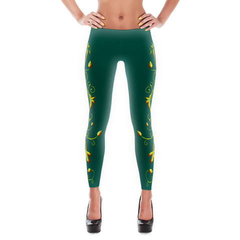 Yellow Roses Full-Up on Teal All-Over Leggings
