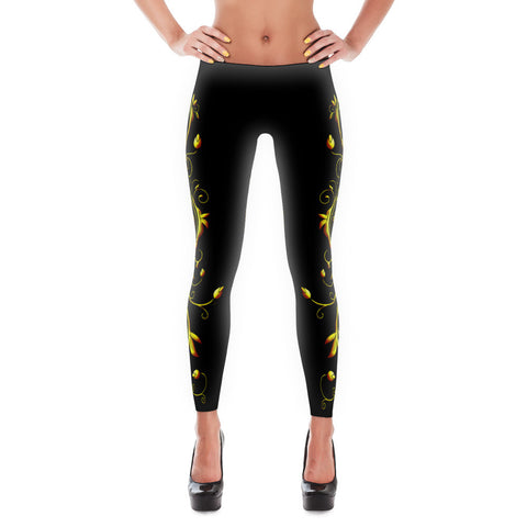 Yellow Roses Full-Up on Black All-Over Leggings - Stradling Designs