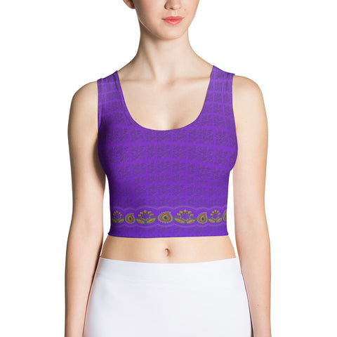 Printful Flower Border in Purple Crop Top