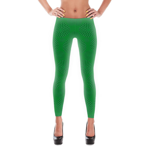 Square-Circle-Spiral Leggings Green