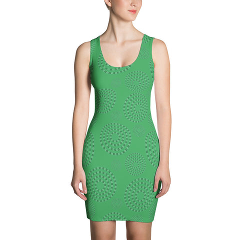 Square-Circle-Spiral Dress Green - Stradling Designs