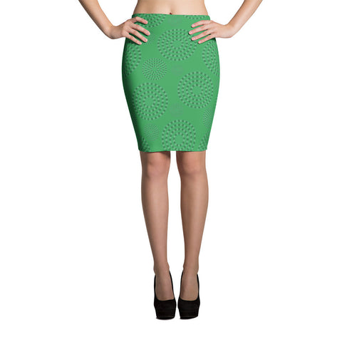Square-Circle-Spiral Pencil Skirt Green