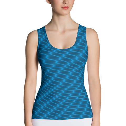Neon Wavy Lines Turquoise Tank Top - Stradling Designs