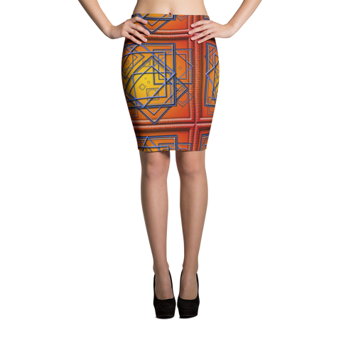 Orange Tile 3 Pencil Skirt