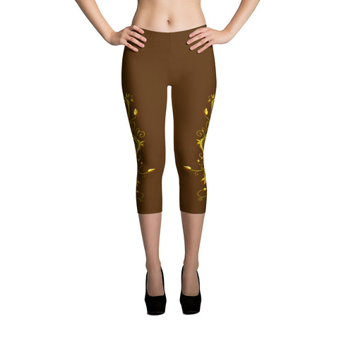 Yellow Roses Half-Up on Brown All-Over Capri Leggings - Stradling Designs