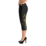 Yellow Roses Half-Up on Black Capri Leggings