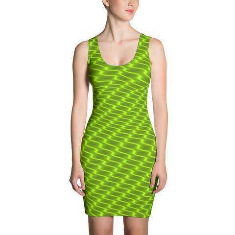 Neon Wavy Lines Yellow Dress - Stradling Designs