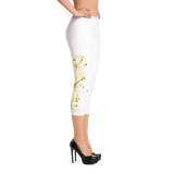 Yellow Roses Half-Up on White Capri Leggings - Stradling Designs