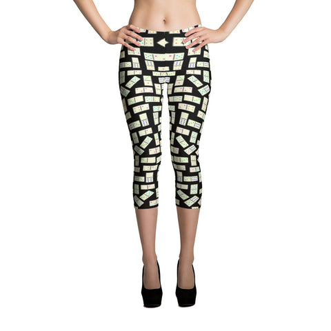 Printful Domino Tiles on Black  All-Over Capri Leggings Front View