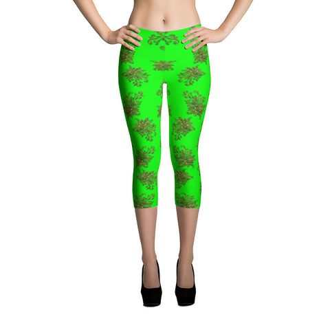 Printful Gold Flower 3 All-over Leggings Front View