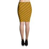 Neon Wavy Lines Gold Pencil Skirt - Stradling Designs