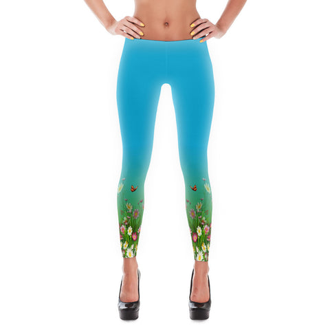 Printful Flowers-Grasses Border Print Leggings Front View
