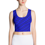 Neon Wavy Lines Blue Crop Top - Stradling Designs