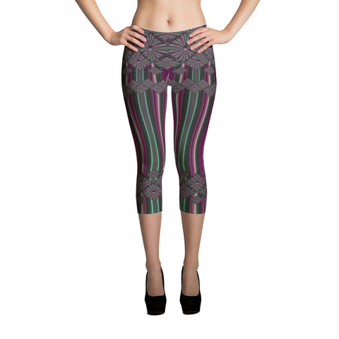 Metallic Diamonds and Stripes 2 All-over Capri Leggings - Stradling Designs