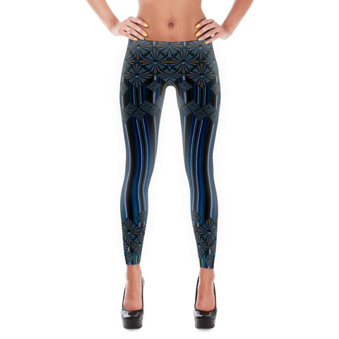 Printful Metallic Diamonds and Stripes 5 All-over Leggings Front View