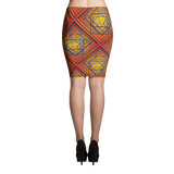 Orange Tile 2 Pencil Skirt - Stradling Designs