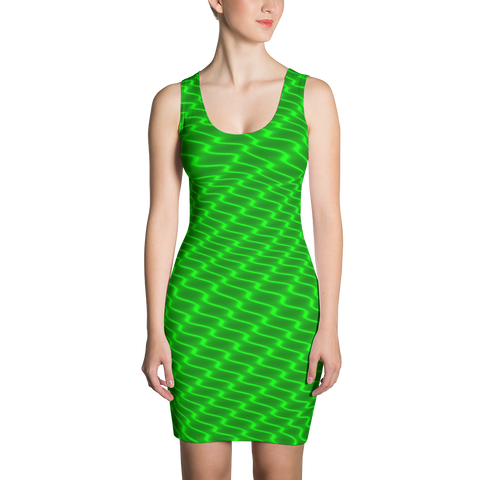 Neon Wavy Lines Green Dress - Stradling Designs