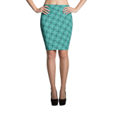 Steel Pencil Skirt Turquoise