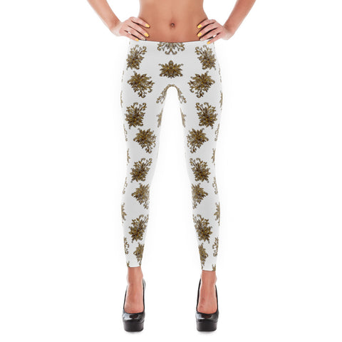 Printful Gold Flower 11 All-over Leggings Front View