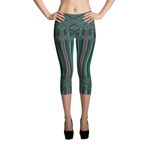 Metallic Diamonds and Stripes 6 All-over Capri Leggings - Stradling Designs