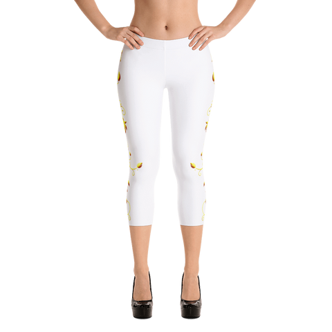 Yellow Roses Full-Up on White Capri Leggings