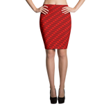 Neon Wavy Lines Red Pencil Skirt - Stradling Designs