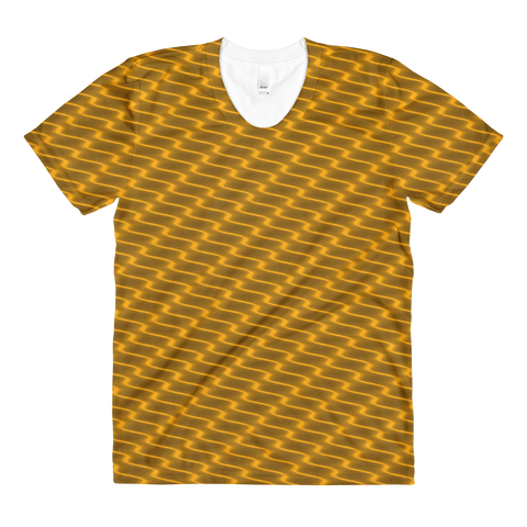 Neon Wavy Lines Gold Women's Crew Neck T-shirt - Stradling Designs